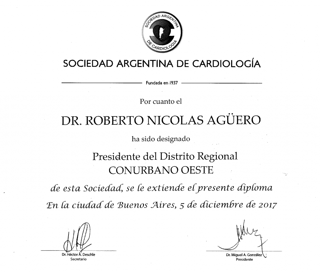 Roberto Aguero diploma presidente conurbano oeste