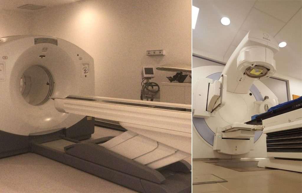 Apenas una muestra del equipamiento del Centro. Izquierda: uno de los tres equipos híbridos de última generación para combinar en un mismo estudio la Tomografía por Emisión de Positrones (PET) con una tomografía computada convencional. Derecha: acelerador lineal de uso médico para tratamientos de radioterapia.